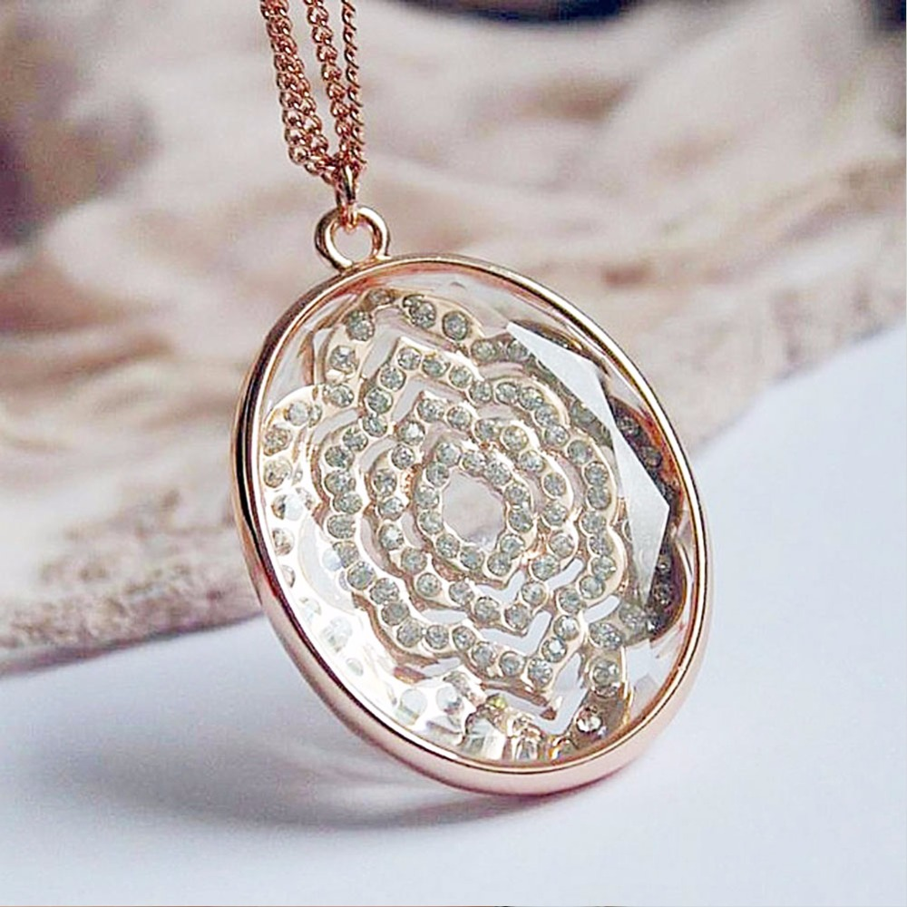 TrinketSea Charm Rose Gold Long Chain Drop Y Pendant Necklace for Women Rhinestone Jewelry Luxury Stone Link Chain Necklaces