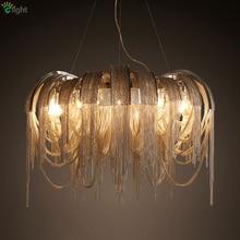 Современный роскошный подвесной светильник с алюминиевой кисточкой, итальянский хромированный/Золотой металлический подвесной светильник для ресторана отеля