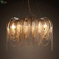 Post современная вилла роскошный алюминиевый кисточкой подвесной светильник Led Италия поток Chrome/металлический кулон золотой свет для рестор