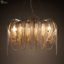 Пост современная вилла Роскошная алюминиевая кисточка светодиодная Подвесная лампа Италия поток хром/золото металлический подвесной светильник для ресторана отеля