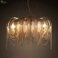 Post Modern Villa Luxury Aluminium Tassel Led Pendant Lamp Italy Stream Chrome Gold Metal Pendant Light