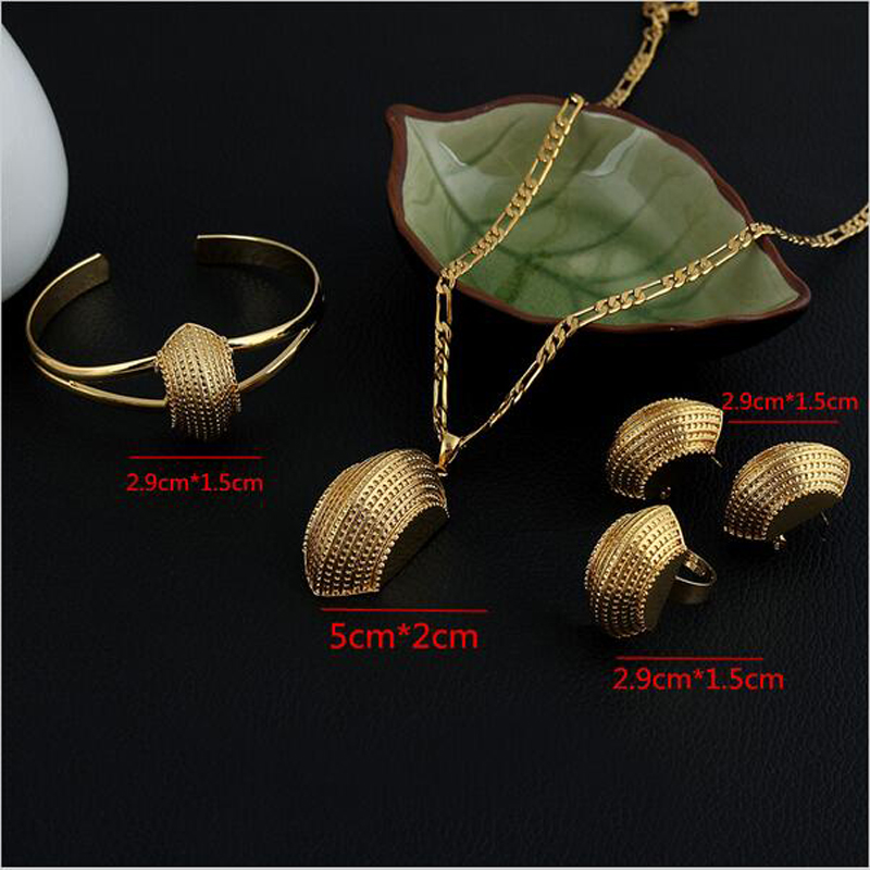 Sky talent bao NEW Ethiopian Cross Jewelry Sets 24K Gold GF Fashion African Traditional Set Boat Semi-circle
