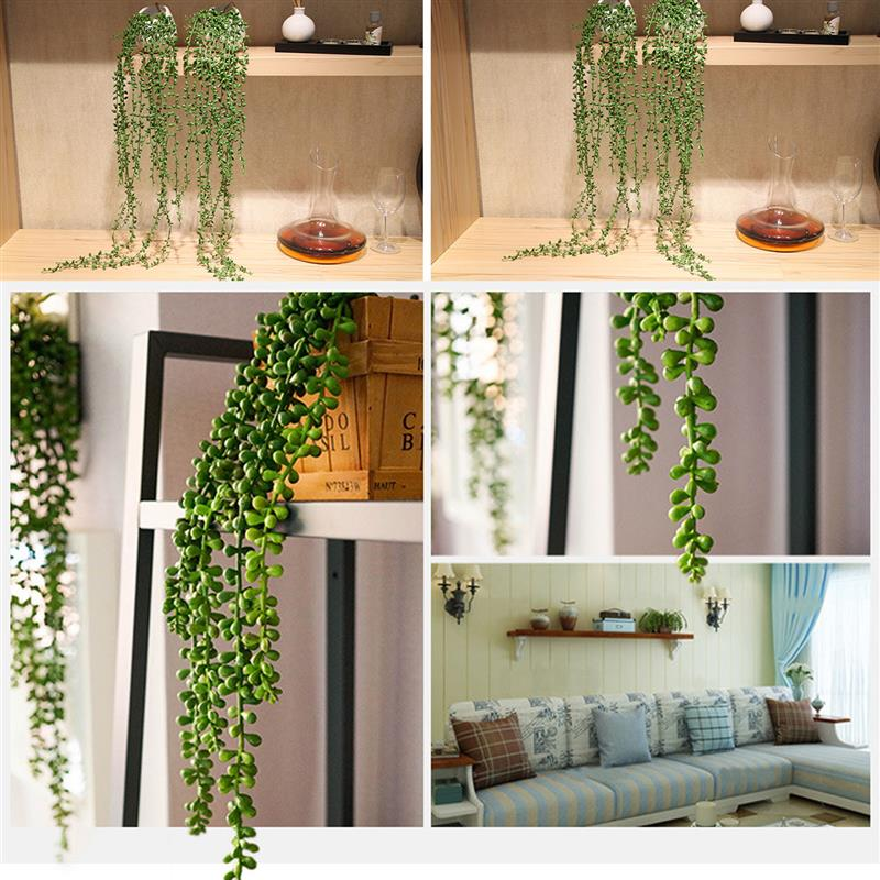 4 Types Artificial Succulent Plants String of Pearls Hanging Basketplant  Rattan Wall Fake Flower Lover Tears Home Party Decor