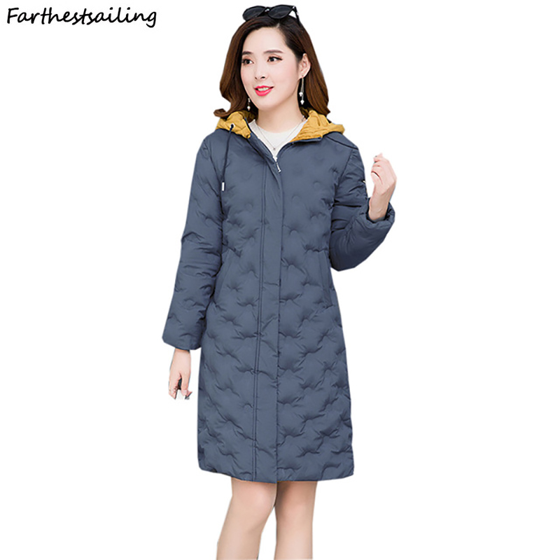 2018 New Winter Coat Thickened Parka Women Stitching Slim Long Down Cotton Ladies Jacket
