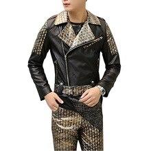 Кожа сращивания мужчины куртку отложным воротником slim fit pu кожаное пальто мужской куртка мотоцикла панк-рок fashoin show stage costume