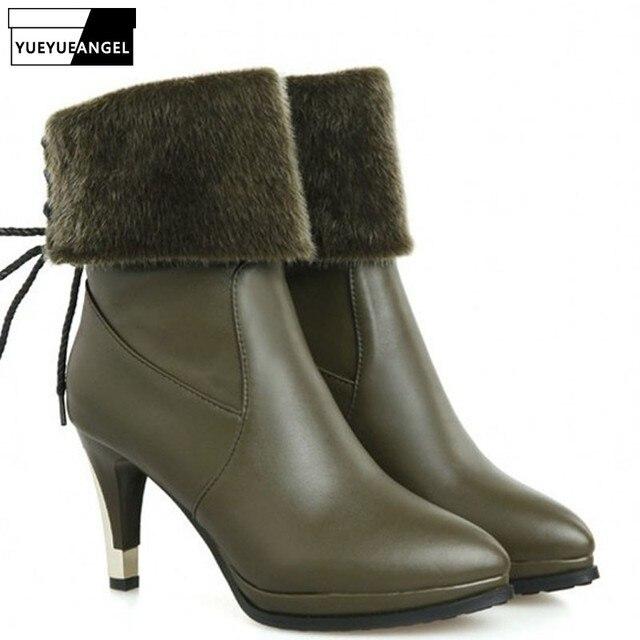 Nueva Zapatos Invierno Pu Cuero Moda Europea Mujer De Punta 2019 pfBqq