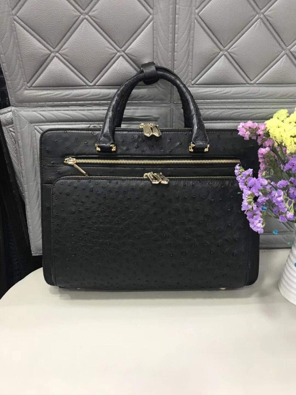 100% Genuine Ostrich Leather Skin Men Business Laptop Bag Briefcase Offical Bag Black Color High End Ostrich Skin Men Bag