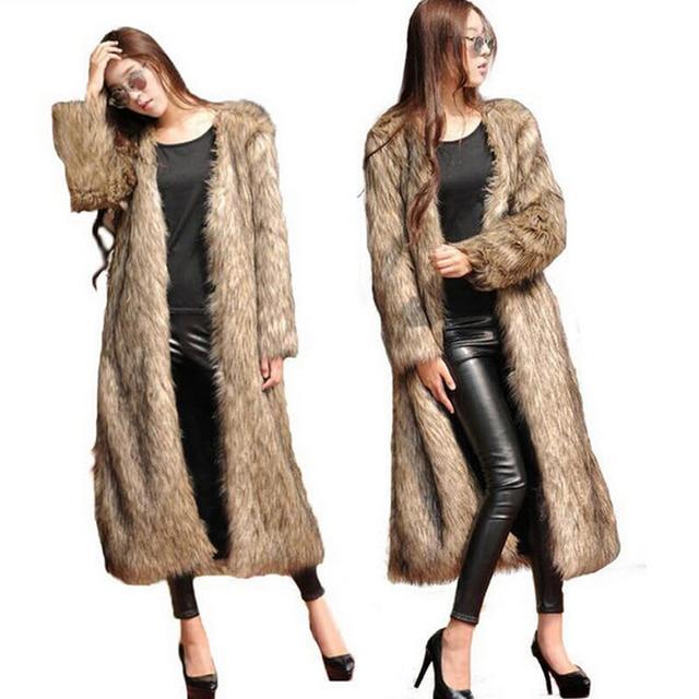 Largo 2017 Otoño Invierno mujer moda faux Fox Pieles de animales abrigo  mujeres imitación Pieles de 14863d28d652
