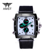 AMST Watches Men Analog Digital Army Military Watch 5ATM Waterproof Clock Sport Wristwatch Quartz LED Mens Watches Relogio купить недорого в Москве