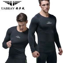 UABRAV Men Running T-shirt Tight Long Sleeves Breathable Quick-dry Compression Sportwear Sport Clothes for Cycling Workout 2018