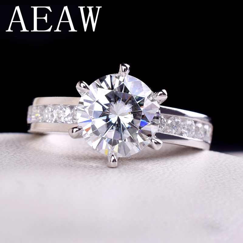 AEAW 2ctw 8mm F Round Cut Engagement Wedding Moissanite Diamond Ring Double Halo Ring Platinum Plated