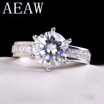 AEAW 2ctw 8mm F Round Cut Engagement&Wedding Moissanite Diamond Ring Double Halo Ring Platinum Plated Silver