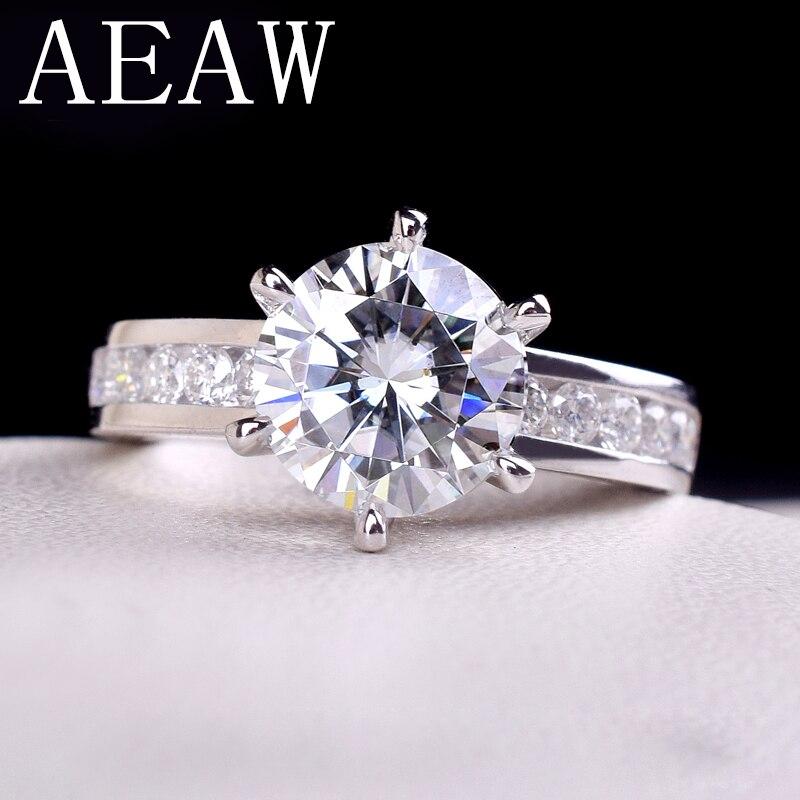 AEAW 2ctw 8mm F bague de fiançailles et de mariage en diamant Moissanite, Double bague Halo, argent plaqué platine