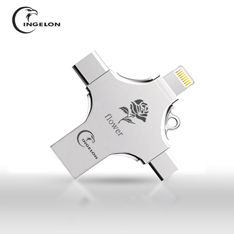 Ingelon USB Flash 16gb 32gb 64gb 128gb Pendrive cle usb 32G Memory Stick for Lightning iphone Android Type C PC 4in1 Flash Drive