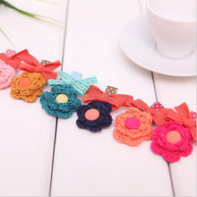 New Arrival lovely small flower hair clips for girls hand-making headwear accessory high quolity knited sunflower hairpins 20pcs