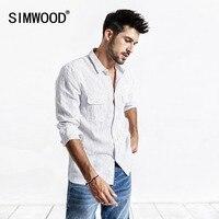 SIMWOOD 2019 Summer Men Shirt Casual Striped Shirt 100% Linen Long Sleeve Shirts Slim Brand Clothing Free Shipping 190173