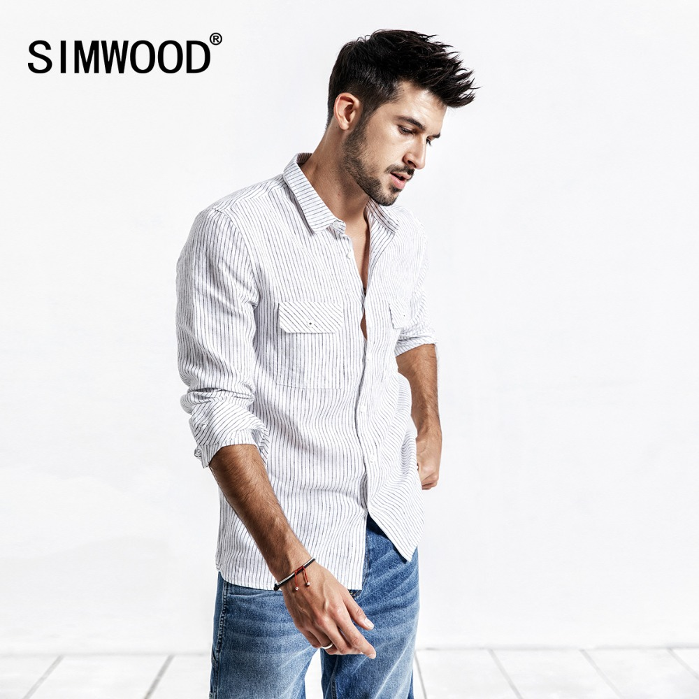 SIMWOOD 2020 Summer Men Shirt Casual Striped Shirt 100% Linen Long Sleeve Shirts Slim Brand Clothing Free Shipping 190173