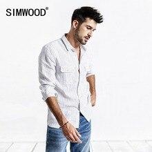 SIMWOOD di 2020 di Estate Degli Uomini Camicia casual Camicia A Righe 100% di Lino Manica Lunga Camicette Sottile Abbigliamento di Marca di Trasporto Libero 190173