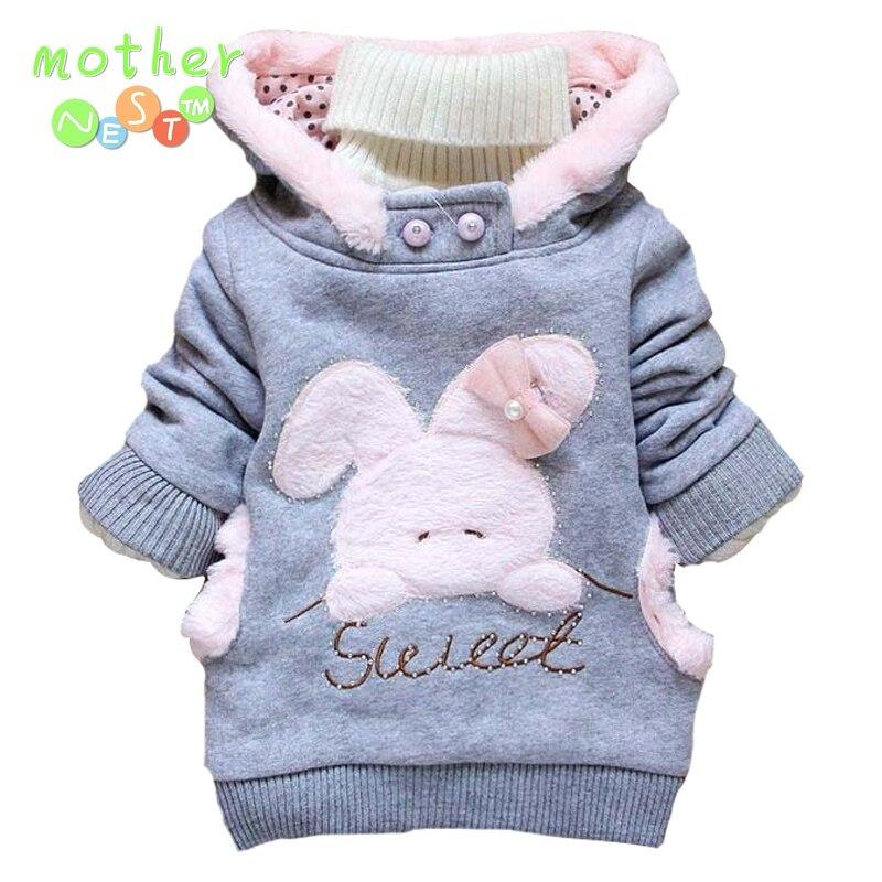 2017 Retail Children Hoodies Clothing Outerwear girls Cartoon Rabbit Fleece Hoody Jackets Coat Baby Kids Clothes
