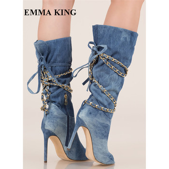 EMMA KING Navy Blue Cowboy Boots For Women Sexy Pleated Lace Up Peep Toe Women Boots Super High Heels Dress Boots Plus Size 43