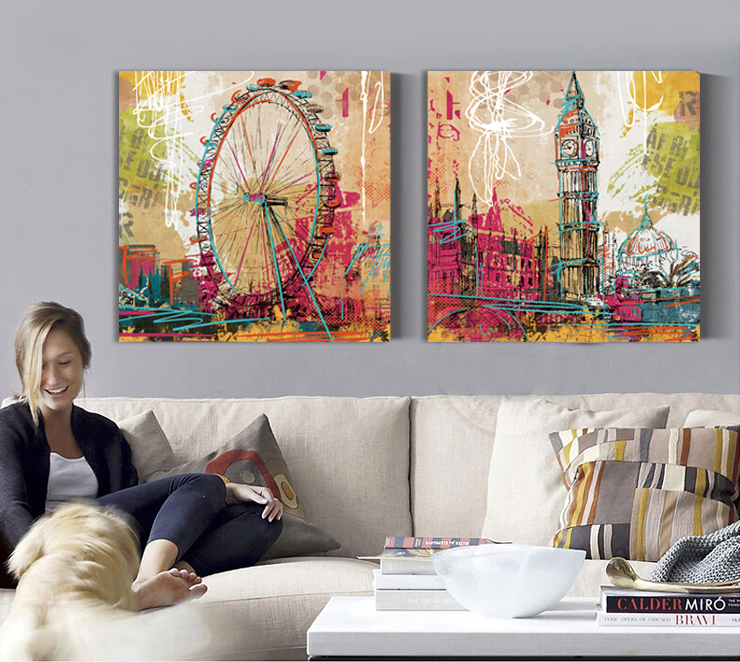 London Eye Big Bell London Canvas Painting Posters And Prints Illustrated  Graffiti Cuadros Wall Pictures For