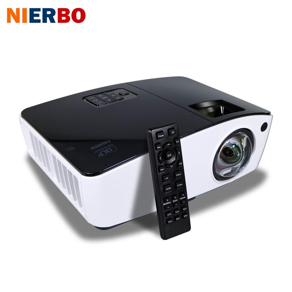 NIERBO Short Throw Projector 3D Daylight Projectors Outdoor Bright 4000 ANSI Lumens School Business  projector 260W Bulb HDMI проектор sony 4k ultra short throw