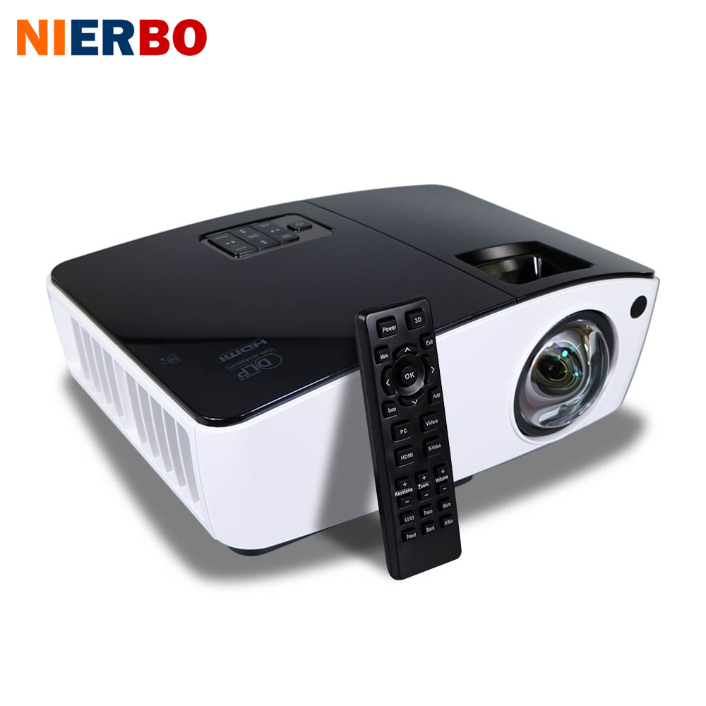 NIERBO Short Throw Projector 3D Daylight Projectors Outdoor Bright 4000 Ansi for School Business Film projector