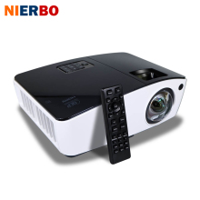 Discount! NIERBO Short Throw Projector 3D Daylight Projectors Outdoor Bright 4000 Ansi for School Business Film projector 260W Bulb HDMI