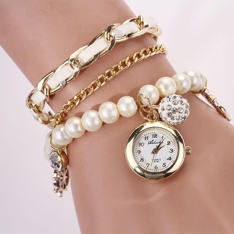 Women Waches  Pearl Anchor Rudder Quartz Bracelet Wristwatch Watch With Rhinestone OL Lady Office Wristwatch Relogio Feminino classic weaved chain anchor rudder decorated bracelet for women