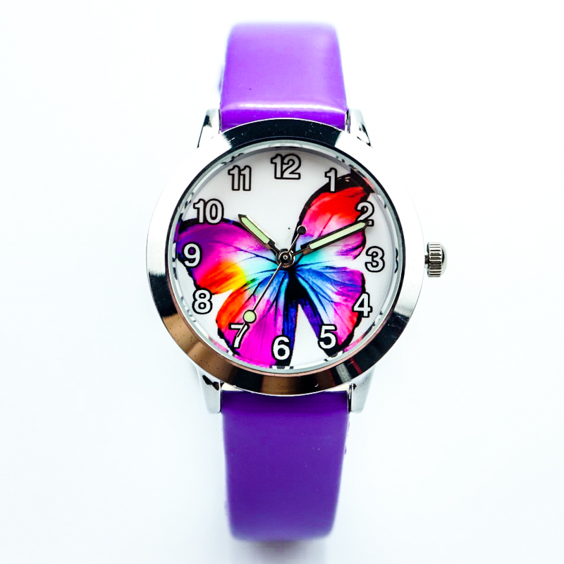 Free Shipping Butterfly Dial Little Boys And Girls Birthday Gift Watch Student Child Lovely Animals Jelly Quartz Leather Clock