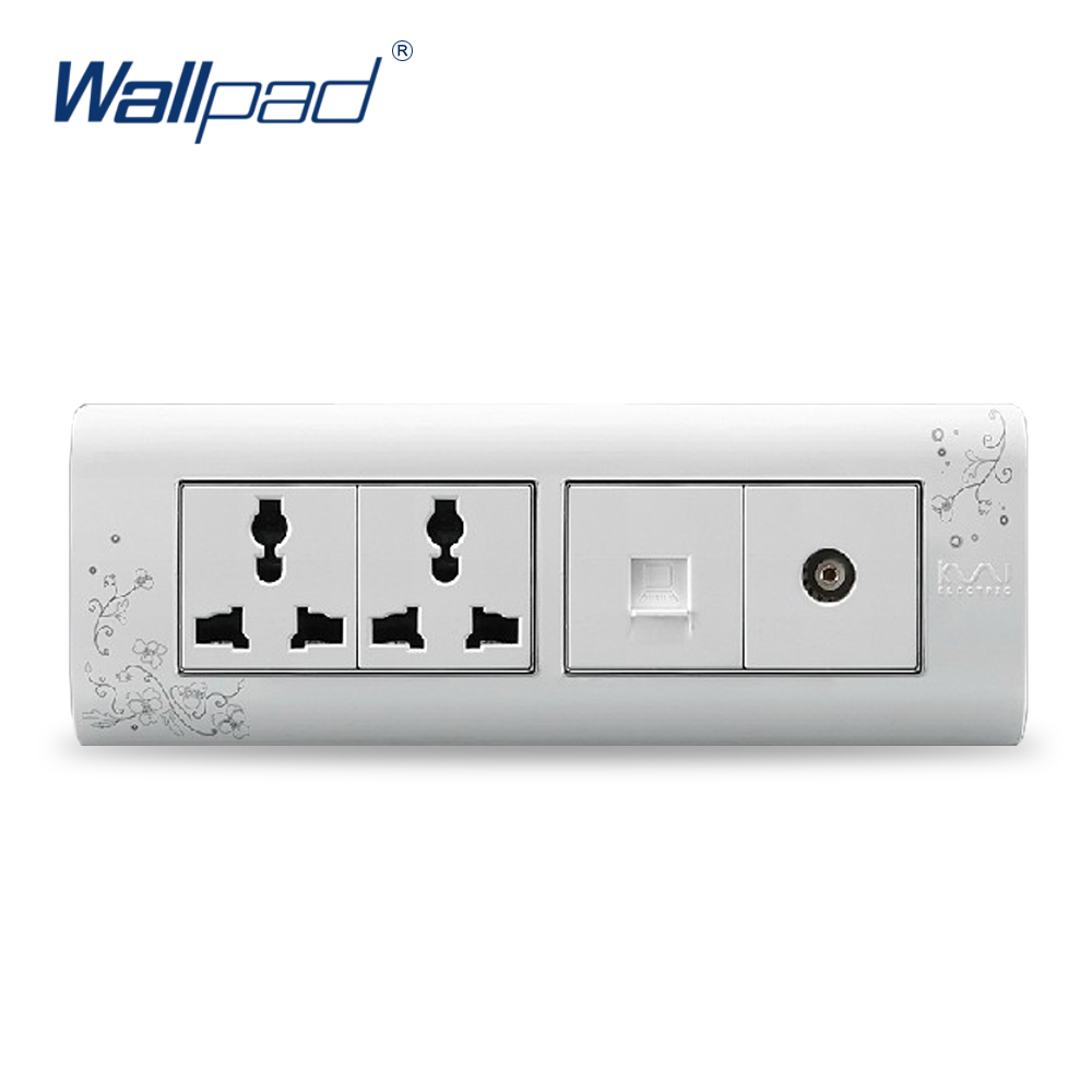 2018 Hot Sale Computer And TV 6 Pin Socket Wallpad Luxury Wall Switch Panel Outlet Socket 197*72mm 10A 110~250V