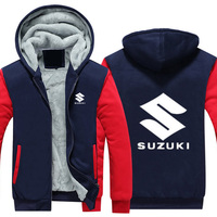 Hot New SUZUKI Jackets Men Thicken Hoodie Riding Clothes Zipper Coat Jacket Fleece Sweatshirt