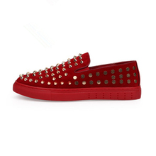 купить New Men Canvas Shoes Genuine Leather Rivets Shoes Fashion Shoe Casual Shoes Sneakers Men Low-cut Loafers tenis masculino дешево