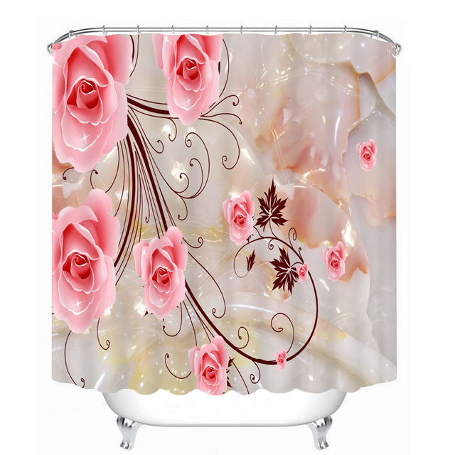Aliexpress.com : Buy 3d Pink Flower Shower Curtain for Bathroom ...