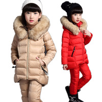 Girls Winter Jackets Cotton Padded Fur Hooded Set Kids Children Clothing Parkas Girl Thicker Outerwear +Sweater+Pants Suits E413