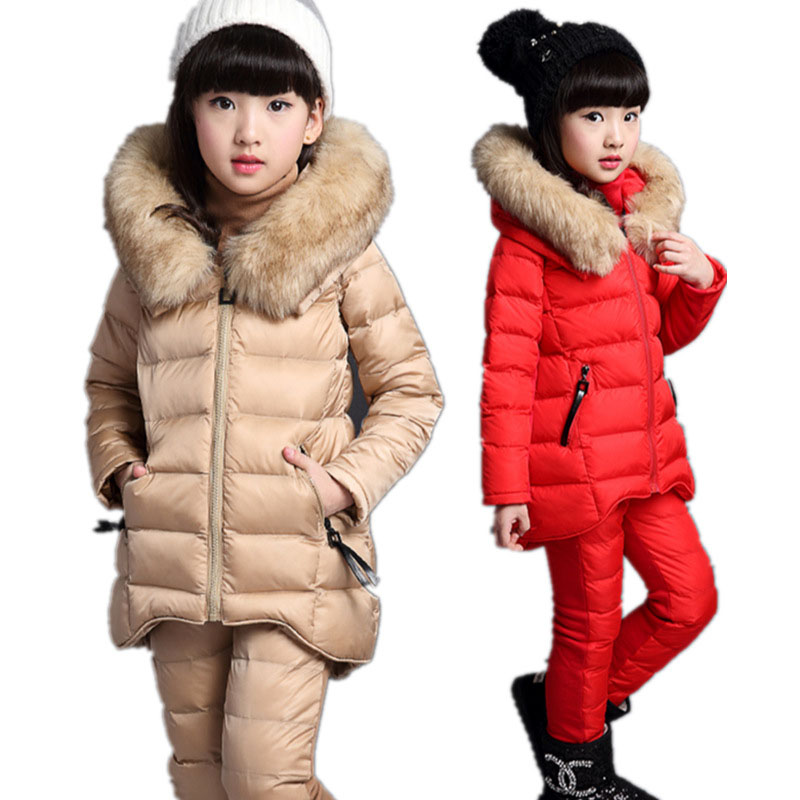 Girls Winter Jackets Cotton Padded Fur Hooded Set Kids Children Clothing Parkas Girl Thicker Outerwear +Sweater+Pants Suits E413 2014 designer children s tracksuits kids sport sweater pants in winter 1 5age 1set retail kid apparel baby lamb thicker section