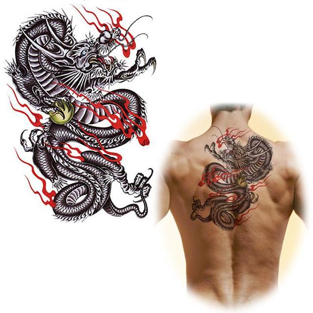 Chinois Dragon Tatouages Conception Autocollants Faux Grand Tatouage
