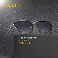 VGLTT Women Fashion Cat Eye Sunglass Vintage Brand Designer Champange Sun Glasses 2017 Newest Arrival Oversized