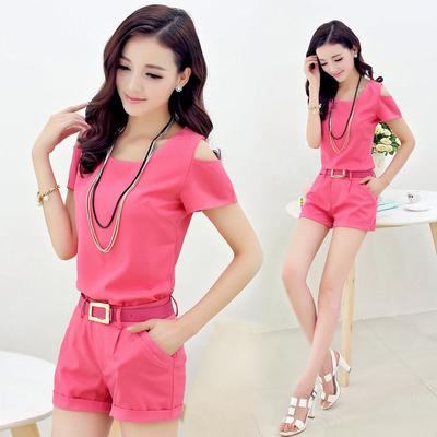 2017new frete grátis mulheres de verão de moda de nova curto Feminino terno Confortável respirável de alta qualidade lazer mulheres terno rosa