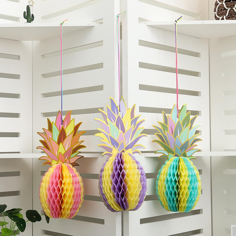 3 Pcs/Set Muti-color Paper Pineapple Shape Honeycomb Decor Summe Party Pineapple Garland Table Centerpiece BEACH POOL LUAU PARTY