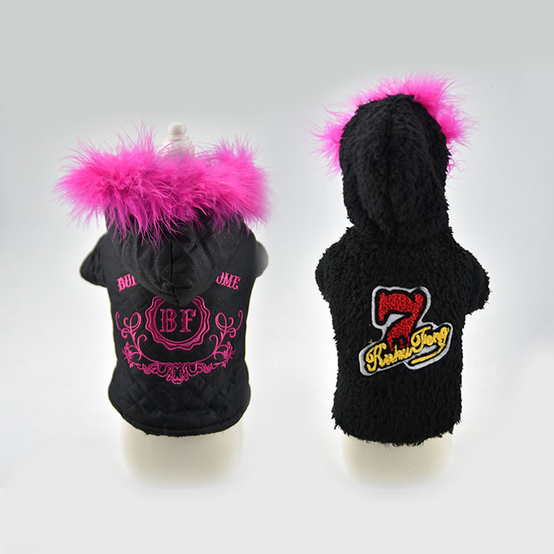 Two sides usage Winter Warm Small Dog Pet Clothes jacket with fur dog cat puppy Padded coat Hoodie skiing Jumpsuit
