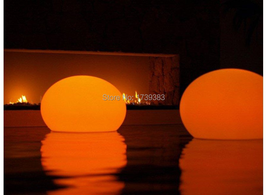 White and color variation D35cm  Lightball Design unbreakable led flat ball light for swimming pool remote (included) decoration