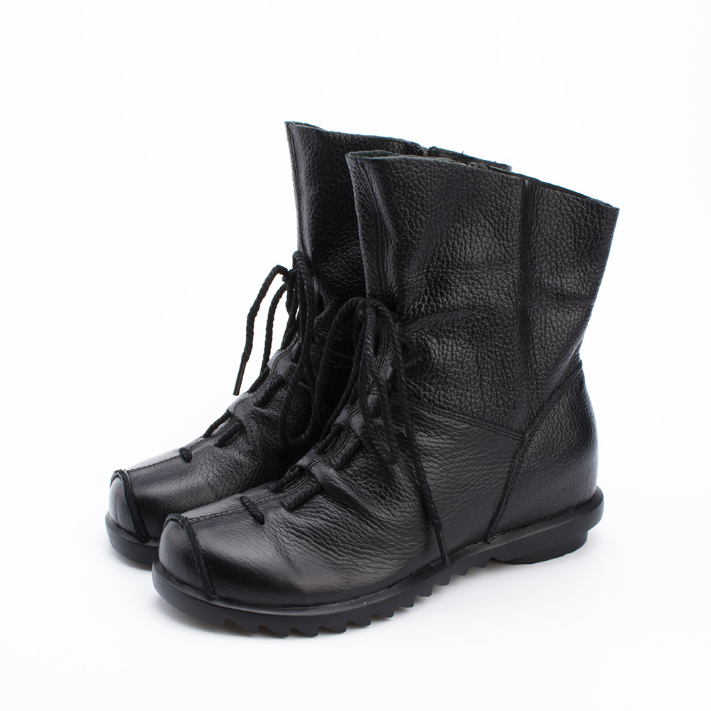 2018 vintage stijl lederen vrouwen laarzen platte laarsjes zachte - Damesschoenen - Foto 2