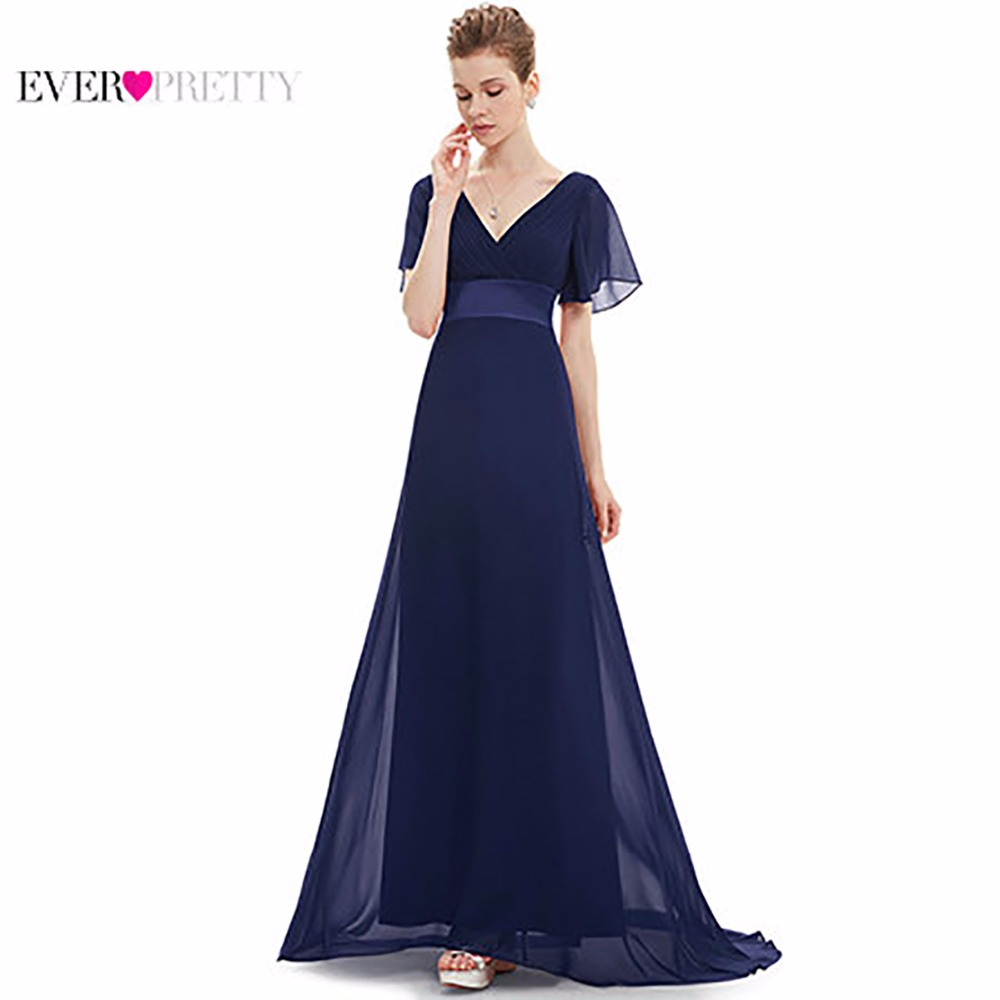Evening Dresses EP09890 Padded Trailing Flutter Sleeve Long Women Gown 2018 New Chiffon Summer Style Special Occasion Dresses meifeier 407 women s fashionable knitted chiffon blouse apricot l