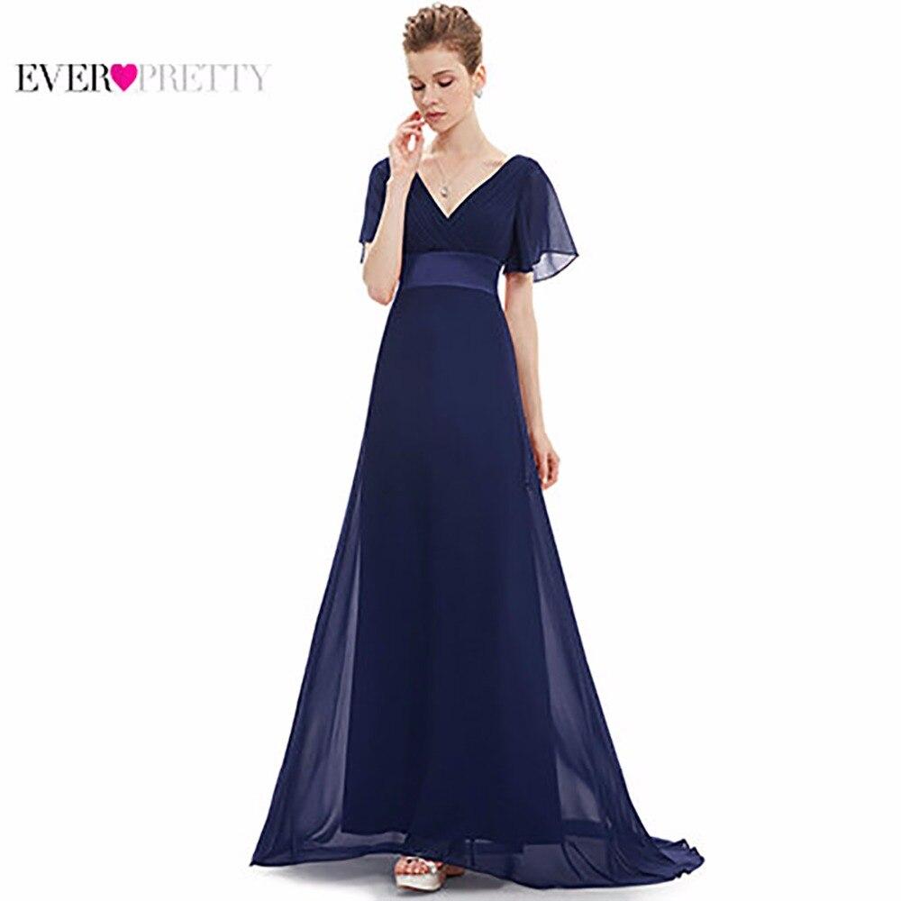 Robes de soirée EP09890 Rembourré Trailing Flutter Manches Longues Femmes Robe 2018 Nouvelle Mousseline de Soie D'été Style Occasion Spéciale Robes