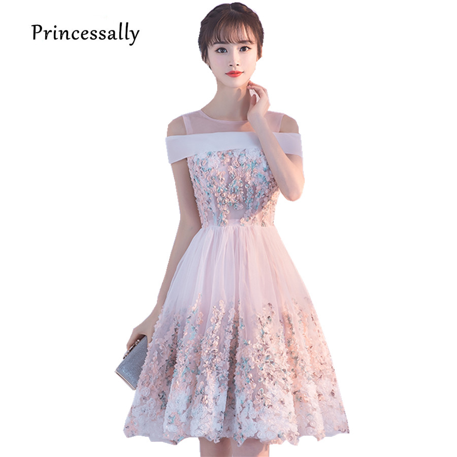 Princessally New Pink Short Evening Dress Flower Appliques Lace Short Sleeve Vintage Elegant Formal Homecoming Gown Robe Soriee