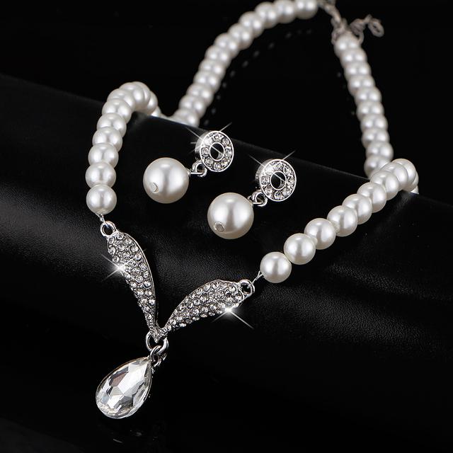 17KM Imitation Pearl Water Drop Jewelry Sets Necklaces Silver Color Crystal Earrings Bracelet for Women Statement Bijoux Femm
