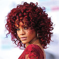 Rihanna Women Nice red short curly wig Stylish lady synthetic hair wigs Free Shipping