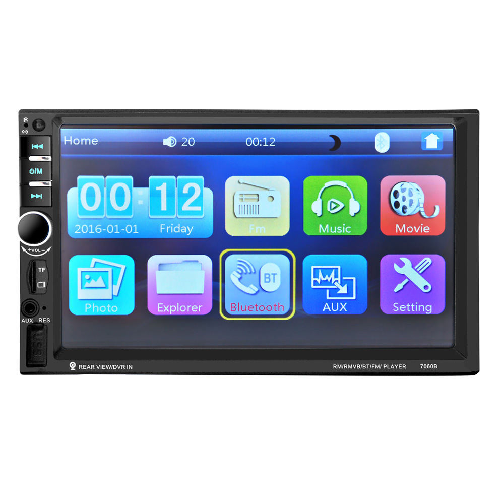 7060B 7 Inch 12V Auto 2-Din Bluetooth TFT Screen Car Audio Stereo MP3/MP4 /MP5 Player Support AUX FM USB SD MMC 3 2 7 12