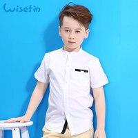 Wisefin Manga Curta Camisas Para Meninos Kids Summer Meninos Branco camisas Botão Casual Crianças Tops E T-shirt 3-18 Anos de Criança topos